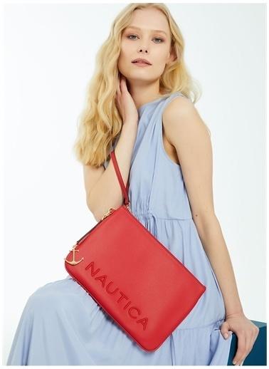 Nautica Nautica Yazı Baskılı Fermuarlı PVC Kadın Portföy Çanta Kırmızı